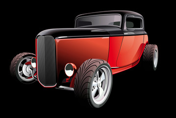 red hot rod on black