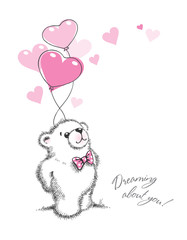 Teddy bear keeps the balloons hearts. Hand drawn illustration.
