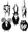 Chien,bélier, bouc,  renad et hibou
