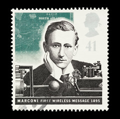 UK mail stamp  featuring the first transmission by Marconi