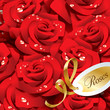Background from red roses in dewdrops with golden ribbon and pap