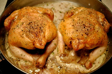 Twin Cornish Hens in a Baking Pan