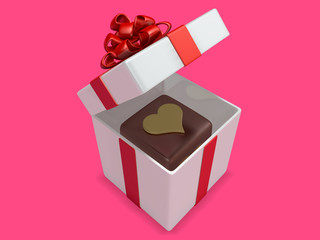 squre 3d hard chocolate into gift box