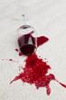 Rotweinglas verschmutzt Teppich.