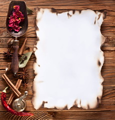 Image space of paper with cooking spices