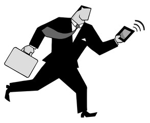 Businessman Running With Suitcases And Tablet In Gray