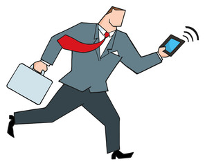 Businessman Running With Suitcases And Tablet