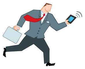 Businessman Running With Briefcase And Tablet