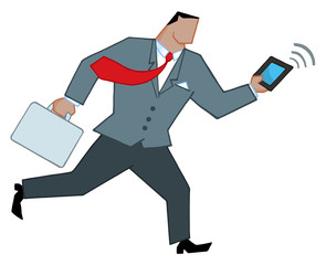 African American Businessman Running With Briefcase And Tablet