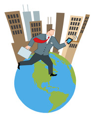 Businessman Running Around A Globe With Suitcases And Tablet
