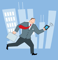 Businessman Running In The City With Suitcases And Tablet