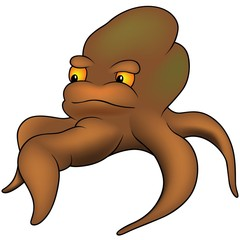 Brown Octopus - colored cartoon illustration