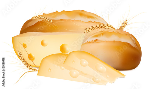 Vector bread with cheese.