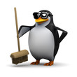 3d Penguin sweeps clean with his new broom
