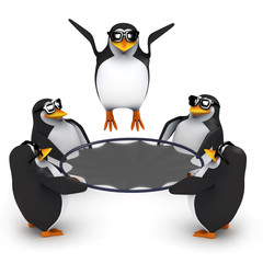 3d Penguins play with the trampoline