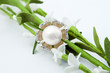 Elegant female jewelry ring with pearl and flowers