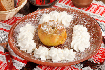 baked apple with whip