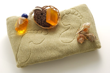 Beige foot SPA set with soap and pumice