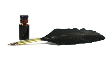 bottle of black ink & feather on white background