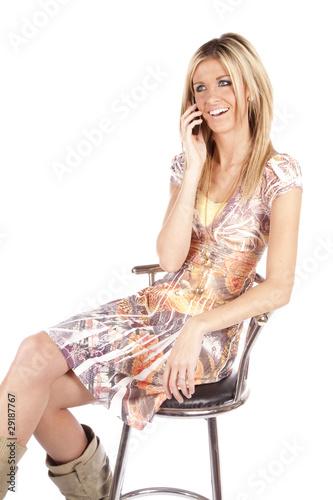 Woman bar stool phone