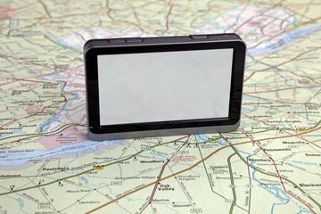 gps navigation on green map.
