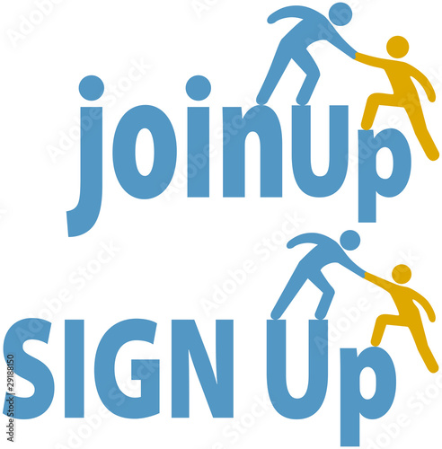 Member helps people sign up join group icon