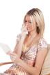 Woman reading sad