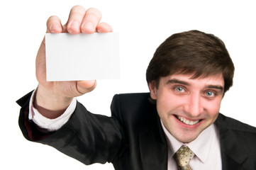 cheerful man with business card