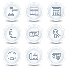 Finance web icons set 2, white glossy circle buttons