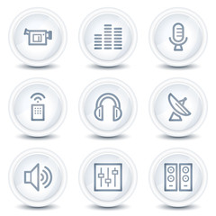 Media web icons, white glossy circle buttons