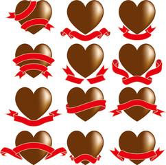 ハートのチョコとリボン