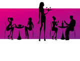 bar restaurant coffee women Illustration vector pink