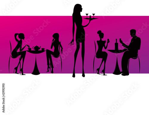 bar restaurant coffee women Illustration vector pink