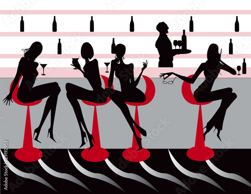 club bar restaurant coffee women Illustration vector