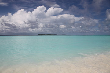 An island landscape in Maldives with cloudy sky
