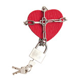 red heart locked with chain on white