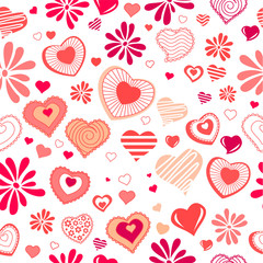 Seamless background with different contour red hearts