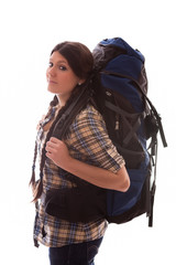 girl with a huge rucksack