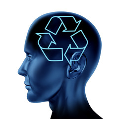 recycle reuse ecology head brain eco symbol conservation