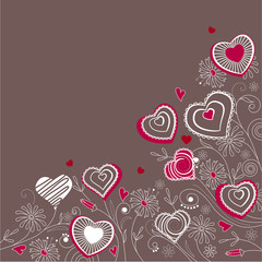 Valentine greeting card with different red and white hearts
