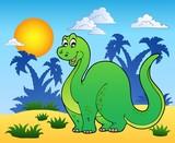 Dinosaur in prehistoric landscape poster