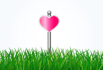 Sign direction love with green grass on white background