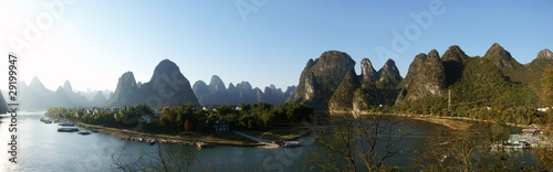 Li river with hill panorama