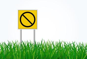 Sign traffic on green grass