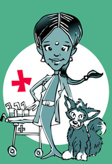veterinary (indian woman) clipart