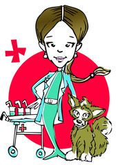 veterinary (caucasian woman) clipart