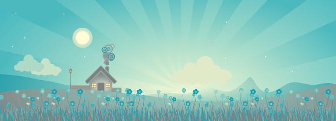 rural landscape scene after sunset, vector illustration
