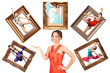 beauty girl in red dress showes multi task many women in picture
