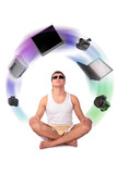young yoga man dreams about home devices collage