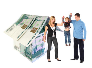 family with hanging boy and rubles house collage